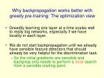 why backpropagation works better with greedy pre training the optimization view
