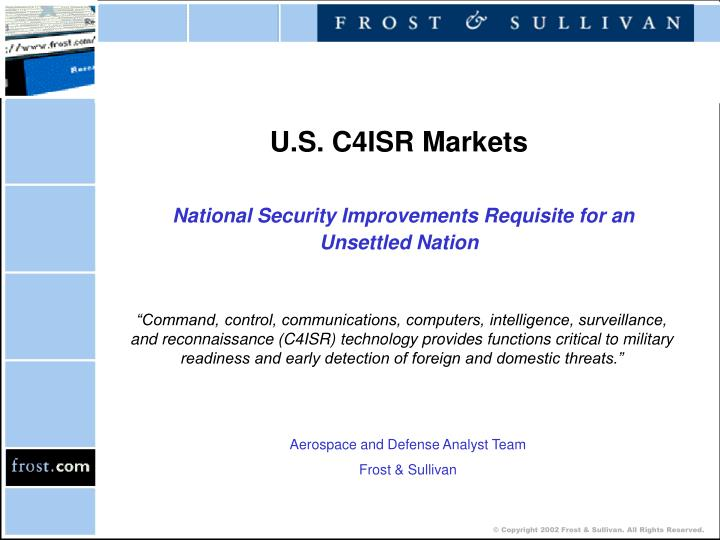 U s c4isr markets national security improvements requisite for an unsettled nation