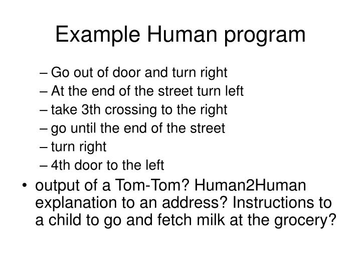 Example Human program