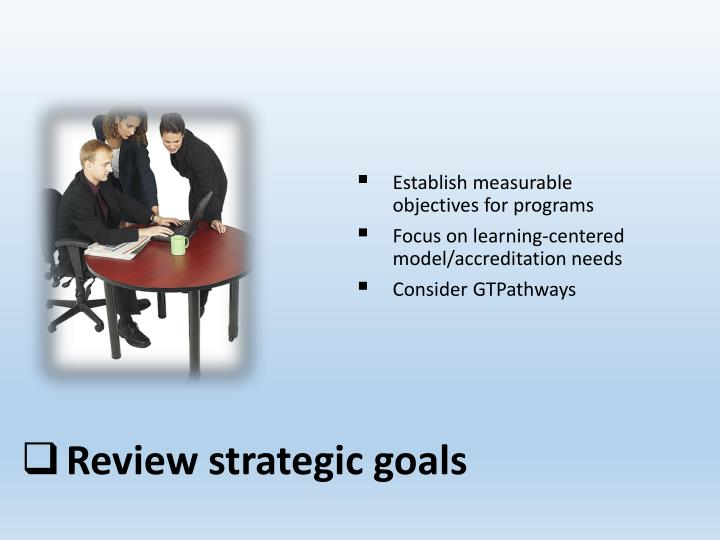 Establish measurable objectives for programs