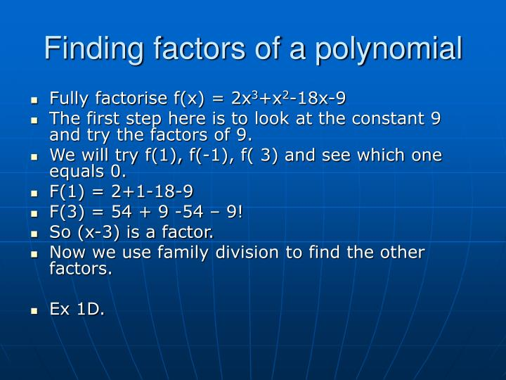 Finding factors of a polynomial