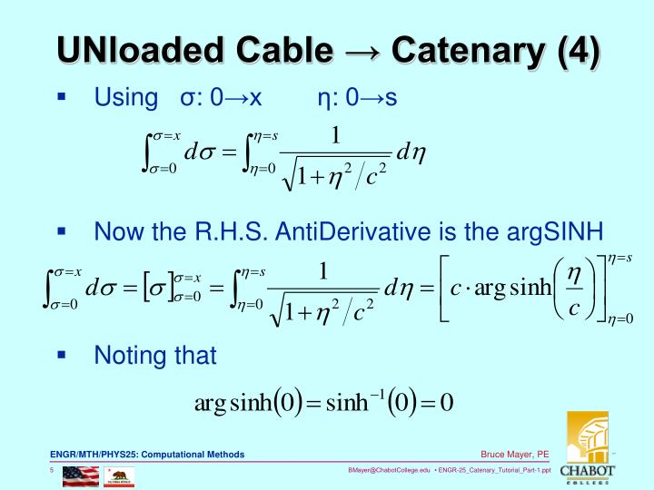 UNloaded Cable → Catenary (4)