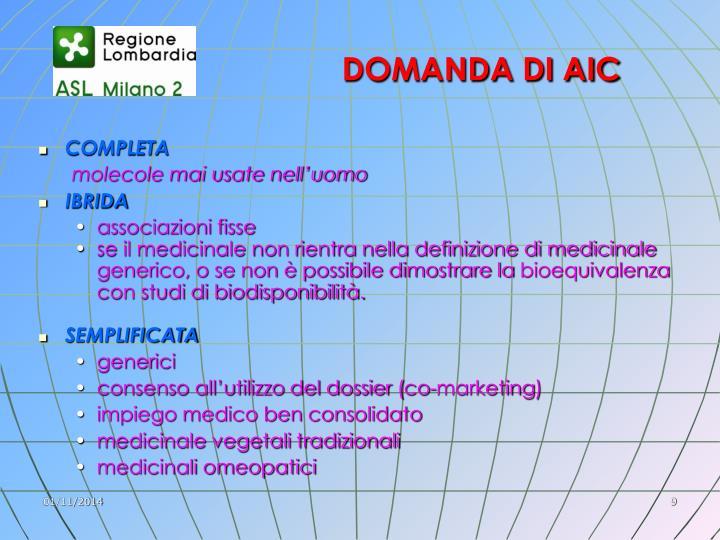 DOMANDA DI AIC