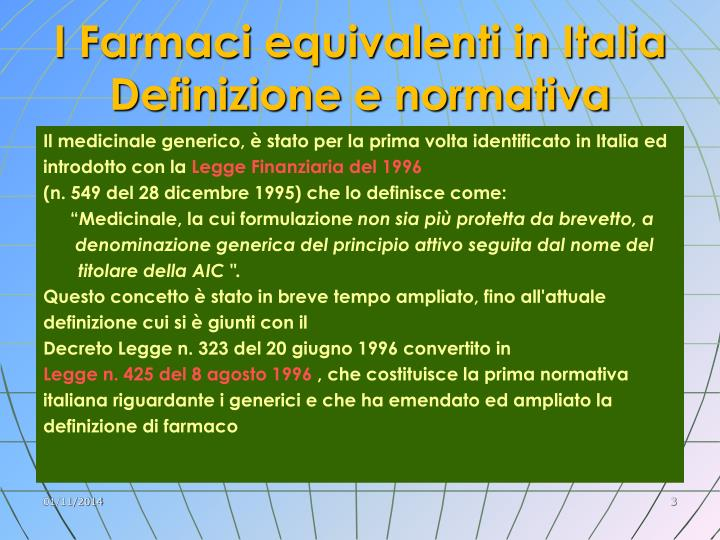 I Farmaci equivalenti in Italia