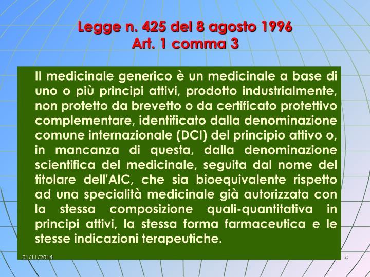 Legge n. 425 del 8 agosto 1996