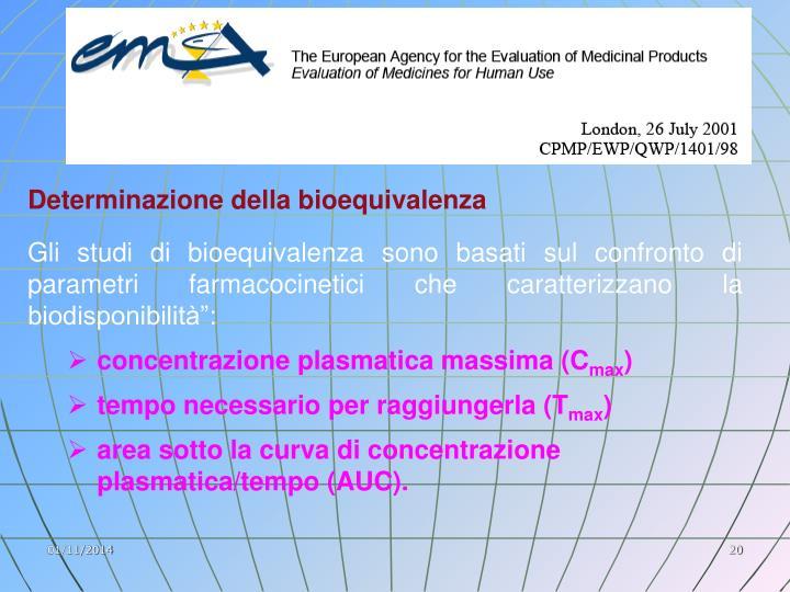 Determinazione della bioequivalenza
