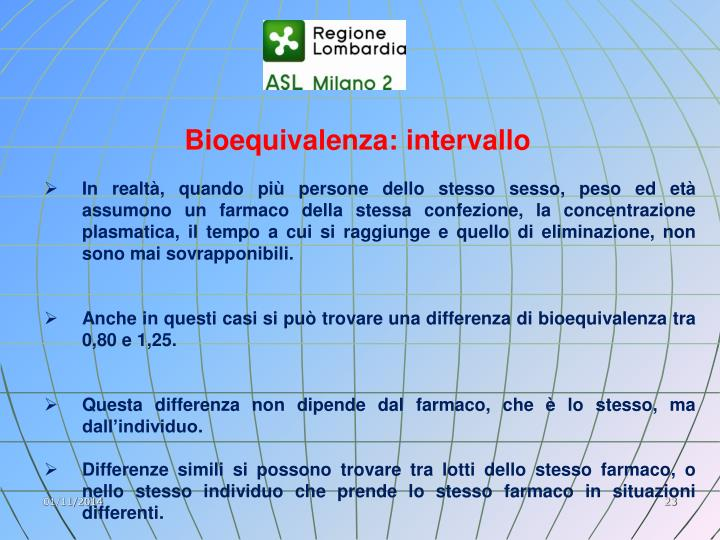 Bioequivalenza: intervallo