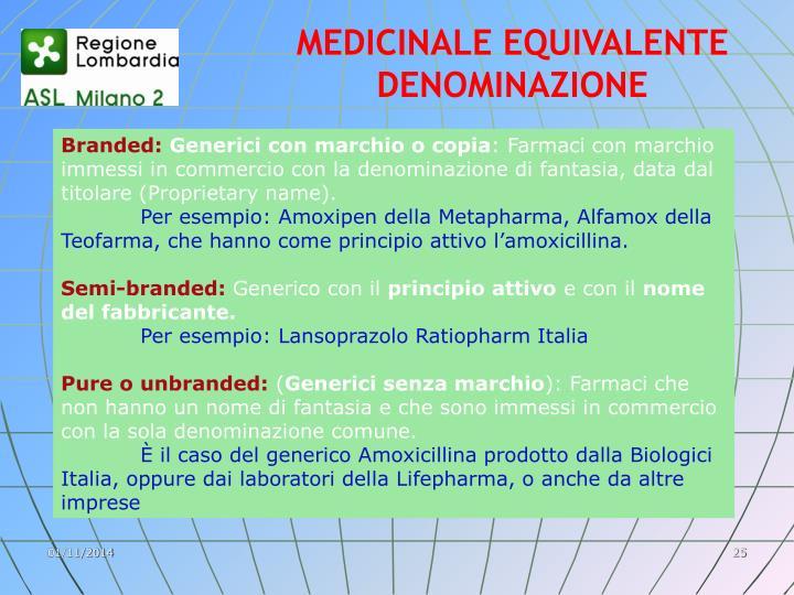 MEDICINALE EQUIVALENTE