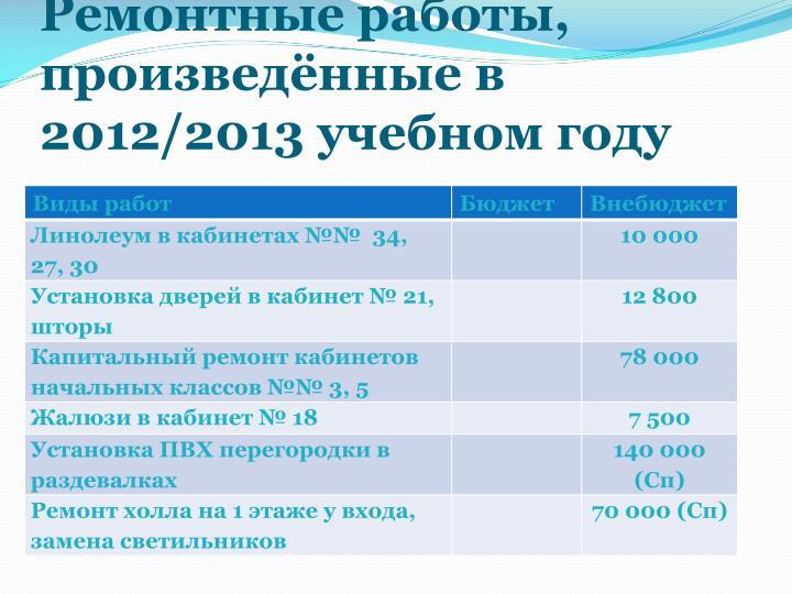 Ремонтные работы, произведённые в 2012/2013 учебном году