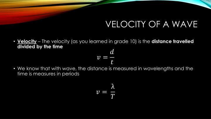 Velocity of a wave