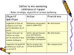 d finir le mix marketing coh rence et rigueur relier strat gie objectifs et actions marketing