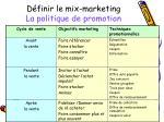 d finir le mix marketing la politique de promotion1