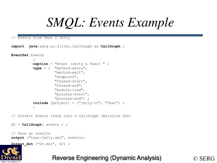 SMQL: Events Example
