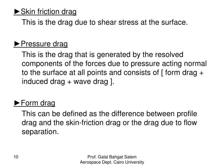 ►Skin friction drag