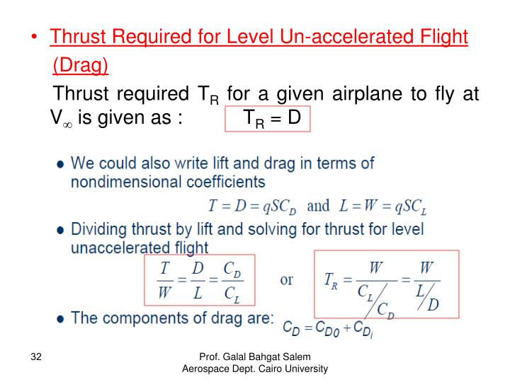 Thrust Required for Level Un-accelerated Flight