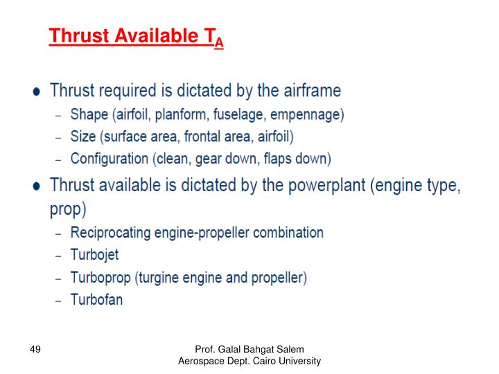 Thrust Available T
