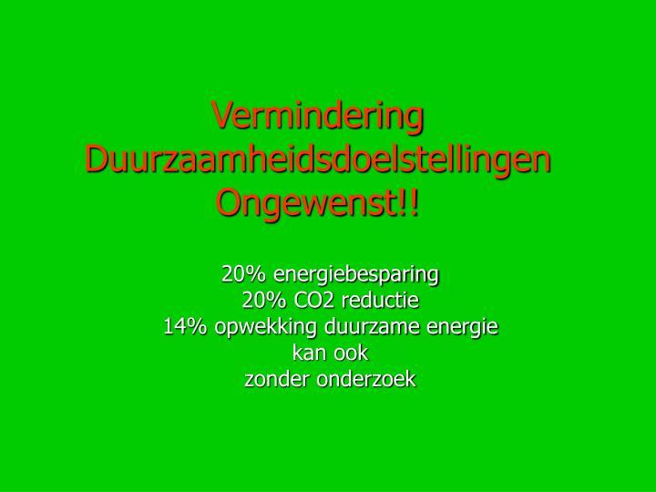 Vermindering Duurzaamheidsdoelstellingen Ongewenst!!