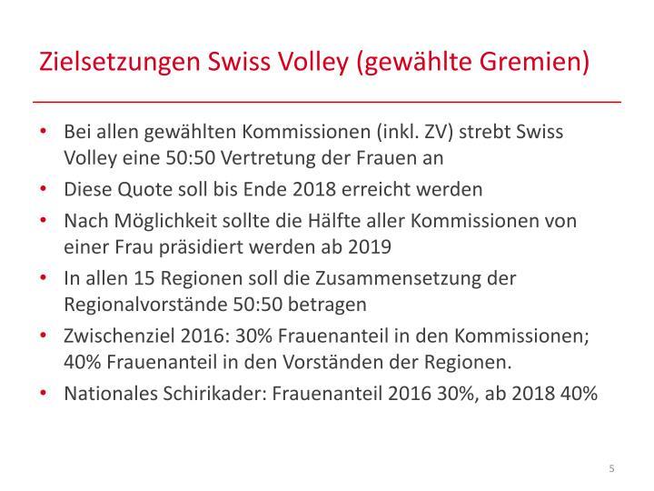 Zielsetzungen Swiss Volley (gewählte Gremien)