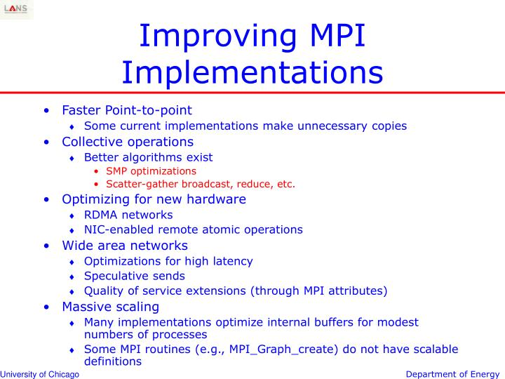 Improving MPI Implementations
