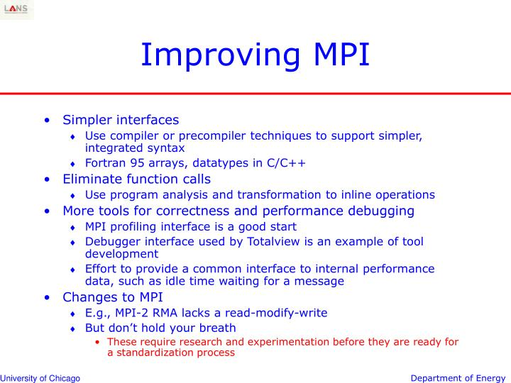 Improving MPI