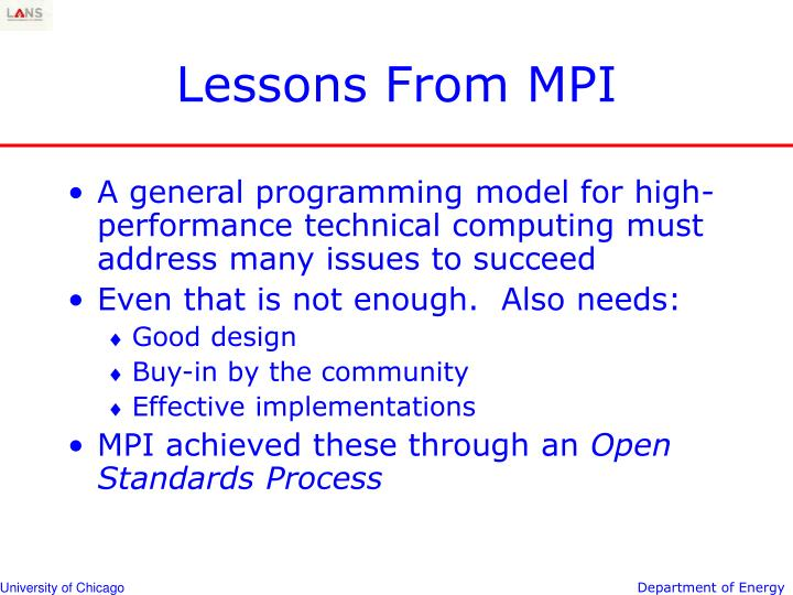 Lessons From MPI