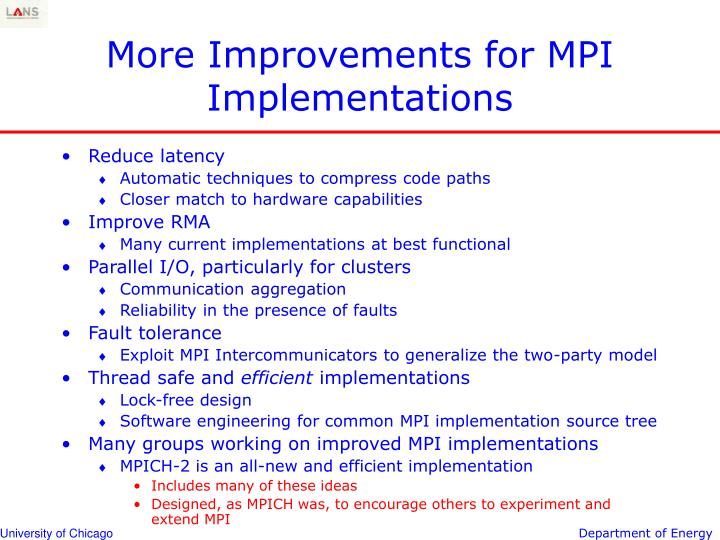 More Improvements for MPI Implementations