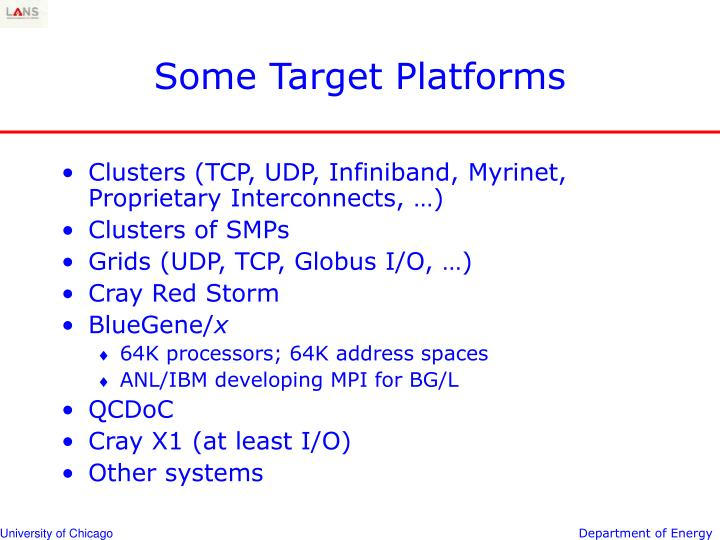 Some Target Platforms