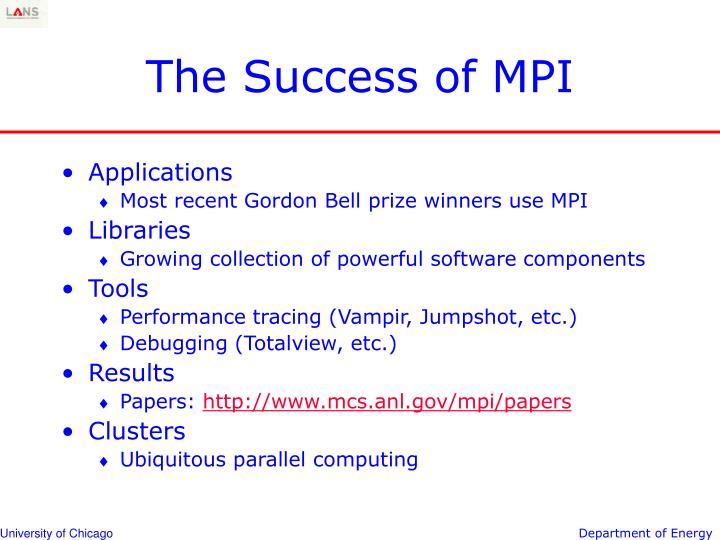 The success of mpi