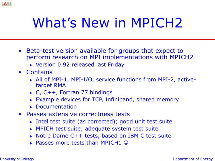 What's New in MPICH2