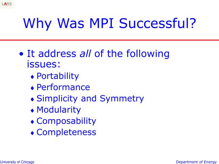 Why was mpi successful