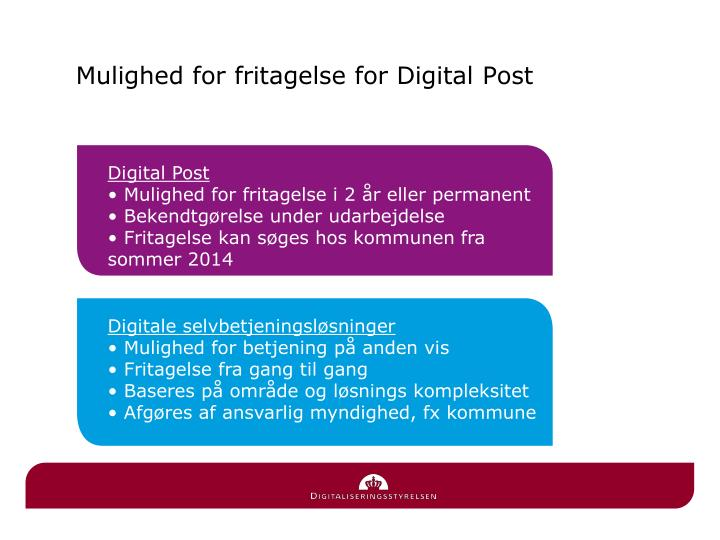 Mulighed for fritagelse for Digital Post