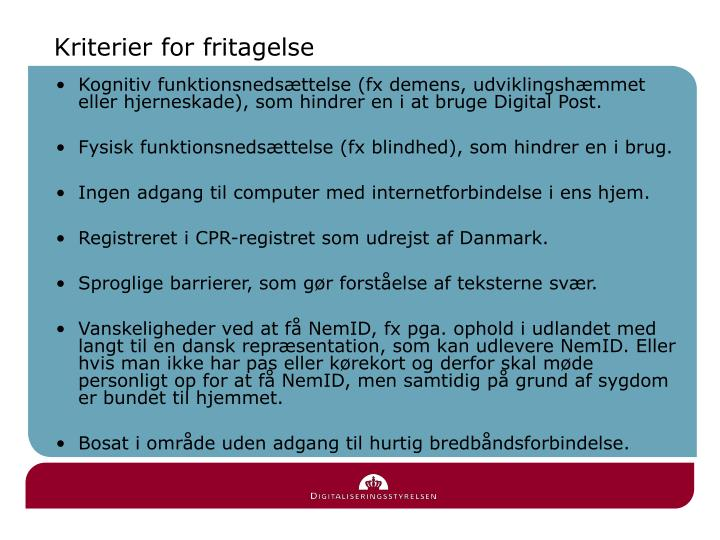 Kriterier for fritagelse