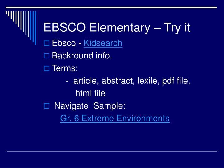 EBSCO Elementary – Try it