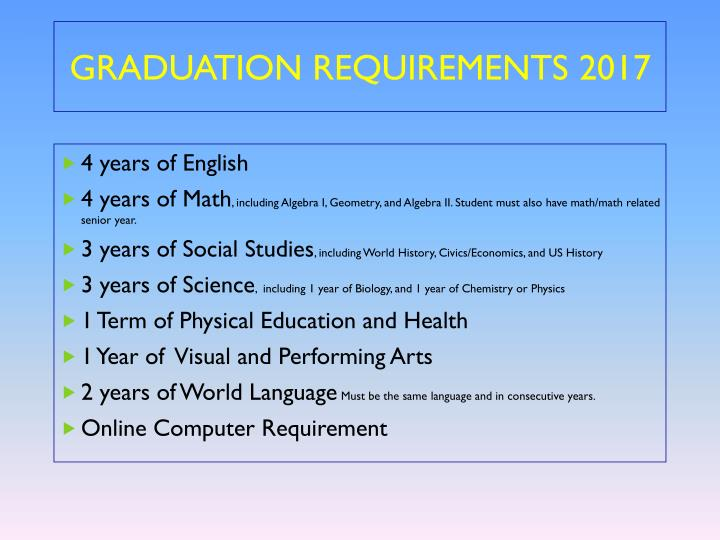 GRADUATION REQUIREMENTS 2017