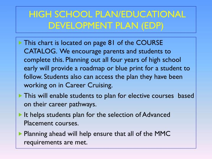 HIGH SCHOOL PLAN/EDUCATIONAL DEVELOPMENT PLAN (EDP)