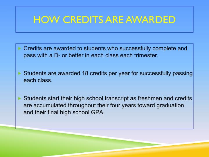 How credits are awarded