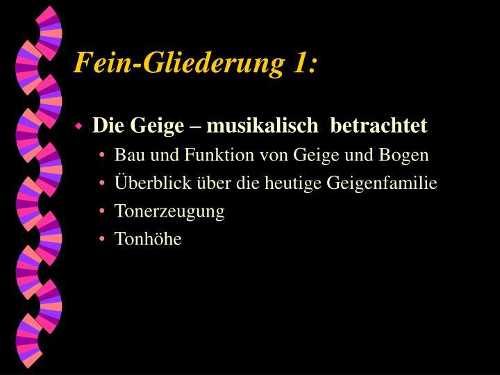 Fein-Gliederung 1: