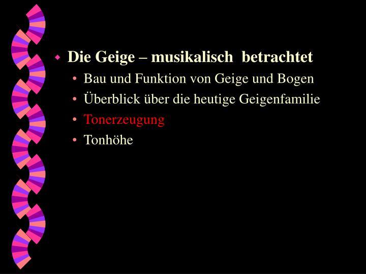 Die Geige – musikalisch  betrachtet