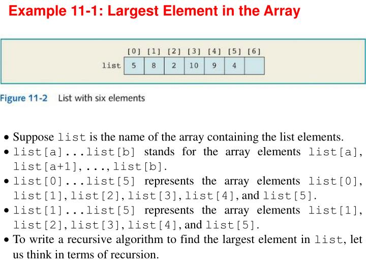 Example 11-1: Largest Element in the Array