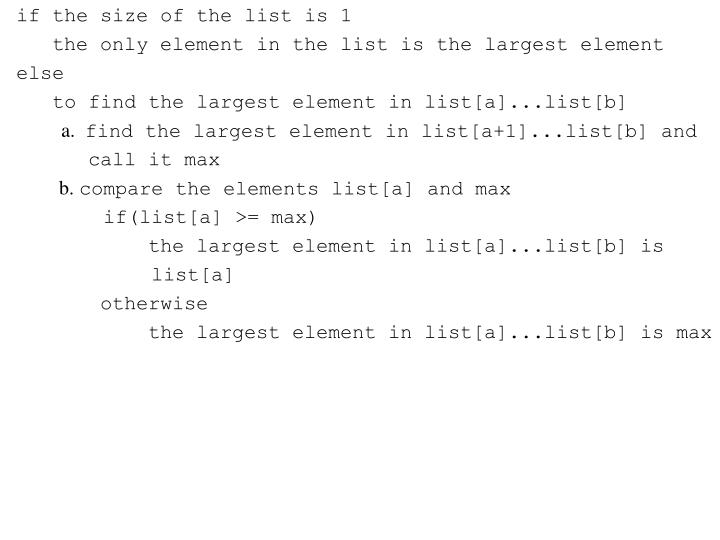 if the size of the list is 1