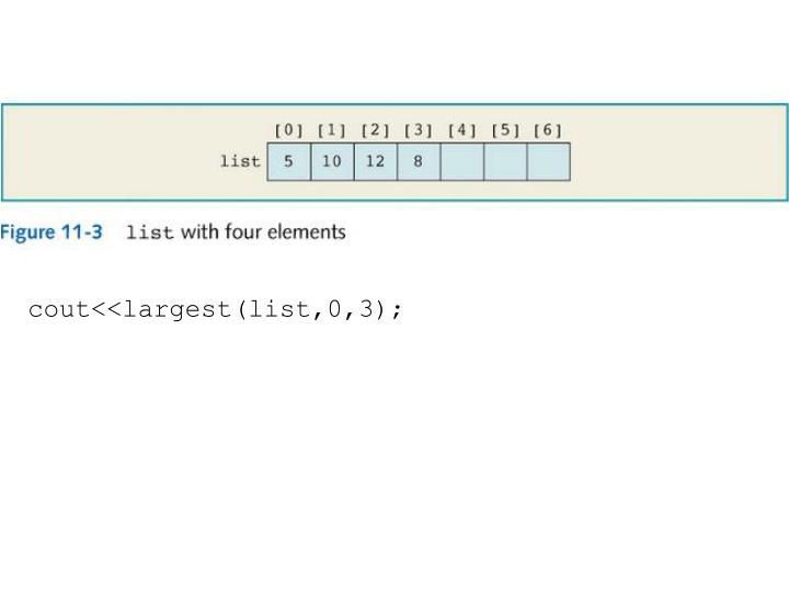 cout<<largest(list,0,3);
