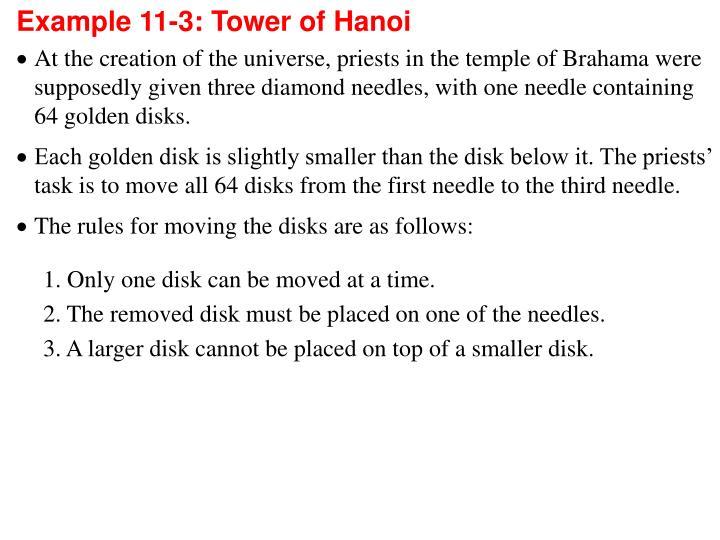Example 11-3: Tower of Hanoi