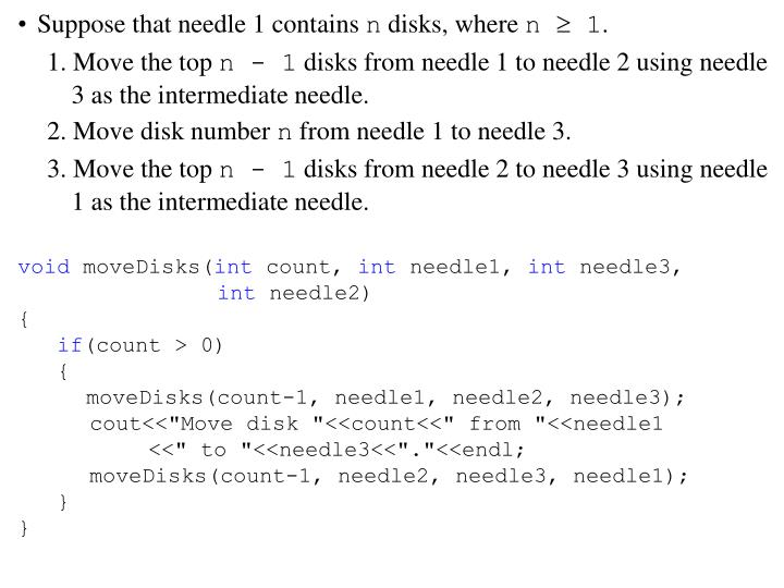 Suppose that needle 1 contains