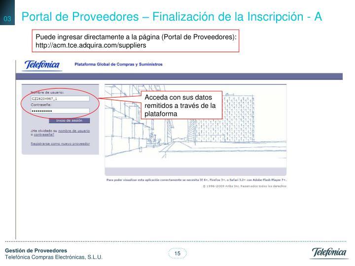 Portal de Proveedores – Finalización de la Inscripción - A