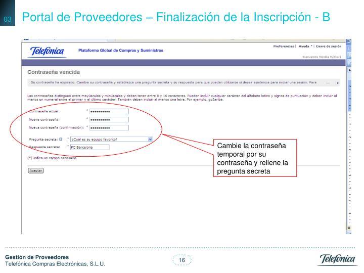 Portal de Proveedores – Finalización de la Inscripción - B