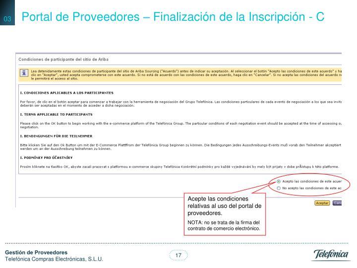 Portal de Proveedores – Finalización de la Inscripción - C