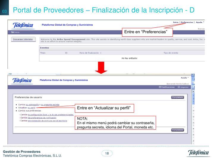 Portal de Proveedores – Finalización de la Inscripción - D