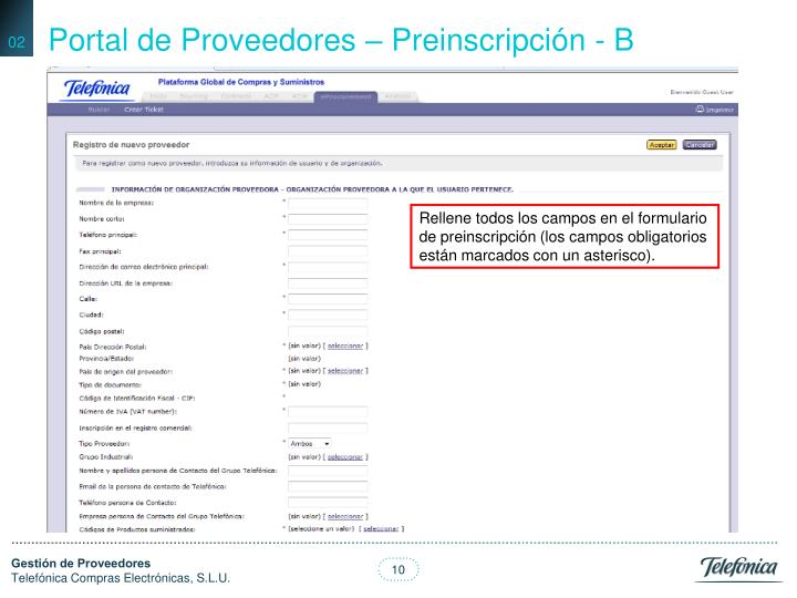 Portal de Proveedores – Preinscripción - B