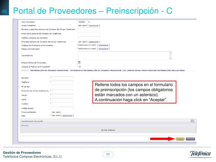 Portal de Proveedores – Preinscripción - C