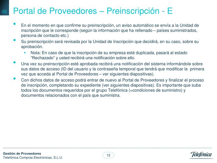 Portal de Proveedores – Preinscripción - E